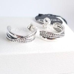 PANDORA Half Hoop Earrings Entwined Silver